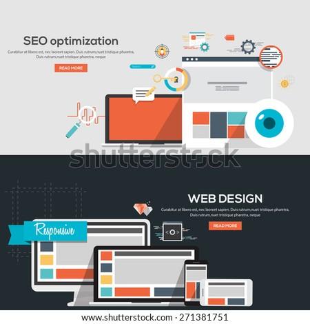 Flat design illustration concepts for Seo optimization and Web design. Concepts web banner and printed materials.Vector - stock vector