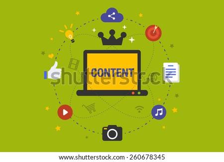 Flat design Illustration: Content is king in digital marketing - stock vector
