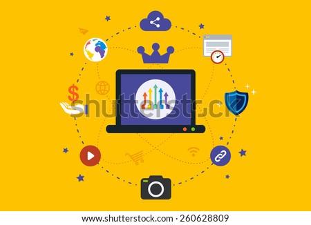 Flat design Illustration: Digital marketing  - stock vector