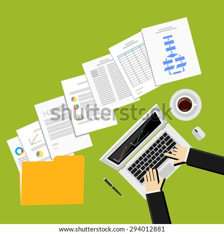 Flat design illustration for business report, business documents, businessman, working, management. - stock vector