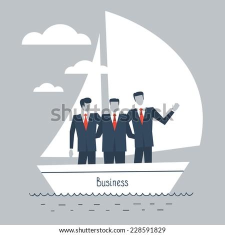 flat design illustration of businessmen in a boat - stock vector