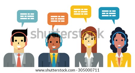 Flat design illustration of diverse business people, man and woman with headset in call center service concept.  - stock vector