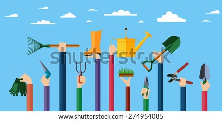 Flat design illustration of hands holding gardening tools. Hands holding various items for gardening. Vector illustration.  - stock vector
