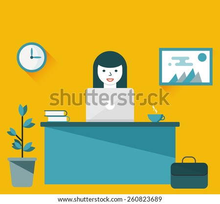 Flat design illustration of office workplace. Girl working or studying at computer. Young business woman using computer at office. Cartoon character. Design element - stock vector