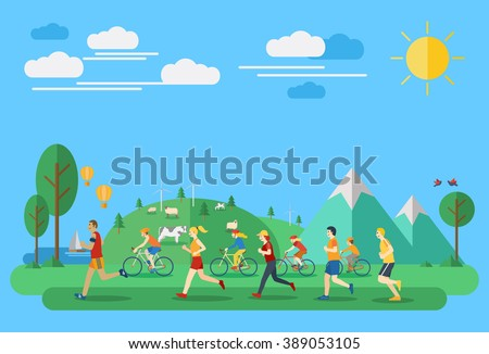 Flat design, Illustration of people jogging and biking in countryside