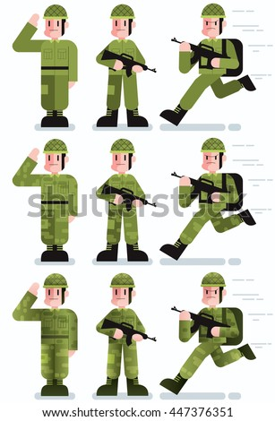 Flat design illustration of soldier in 3 poses and 3 color versions. - stock vector