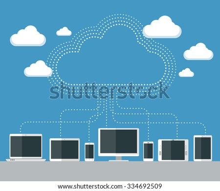 Flat design illustration of various devices connecting to the cloud - stock vector