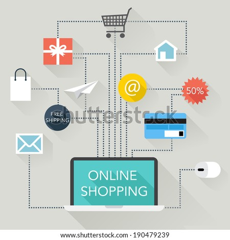 Flat Design Illustration - Online Shopping - vector EPS10 - stock vector