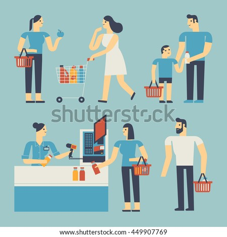 Flat design illustration people are shopping in a supermarket.