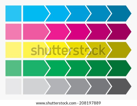 Flat design Illustration. Process arrows boxes. Step by step set. Five steps. - stock vector