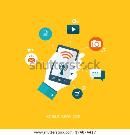 Flat design illustration with icons. Mobile services. eps10 - stock vector