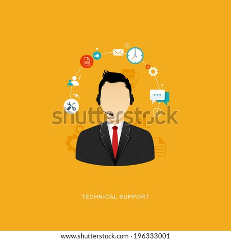 Flat design illustration with icons. Technical support assistant. eps8 - stock vector