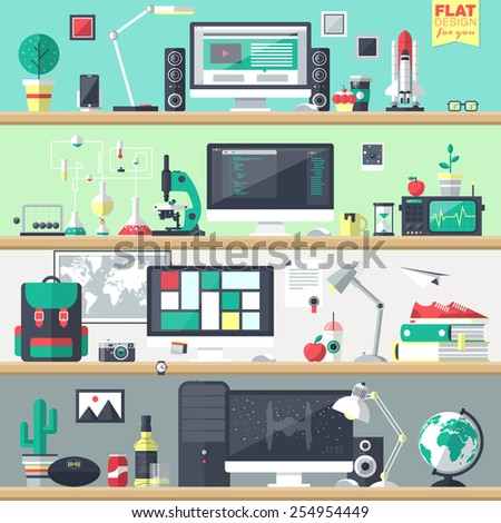 Flat design illustration workspace, workplace concepts for business, management, strategy, digital marketing, finance, social network, education. Web banners and promotional materials. - stock vector