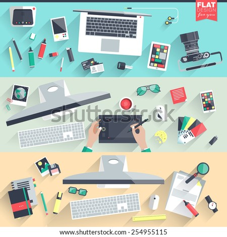 Flat design illustration workspace, workplace concepts for business, management, strategy, digital marketing, finance, social network, education. Web banners and promotional materials. Top view. - stock vector
