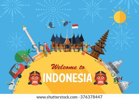 Flat Design Indonesia Icons Landmarks Fireworks Stock Vector 376378447  Shutterstock