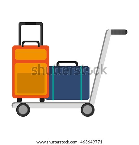 flat design isolated luggage icon vector illustration