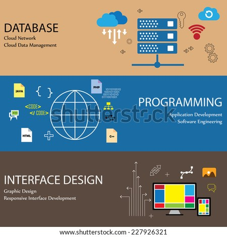 Flat design line icons of concepts like database cloud network and data management programming application development software engineering interface graphic design infographics collection - stock vector