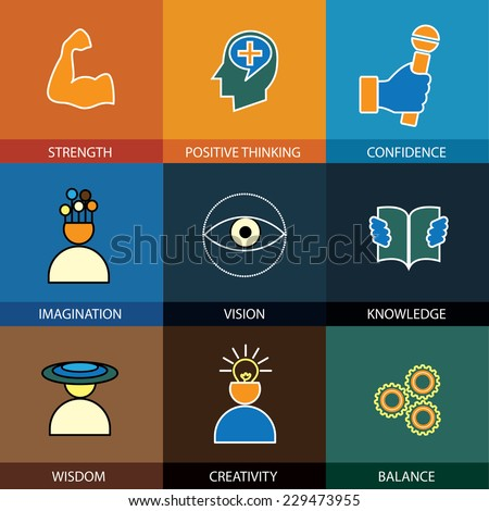 flat design line icons of wisdom, knowledge, imagination - concept vector. This graphic also represents intelligence, vision, forethought, creativity, idea, cleverness, strength, positive thinking - stock vector