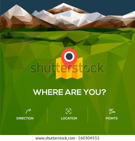 Flat design location icon icon with pin pointer, vector illustration.  - stock vector