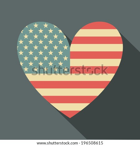 Flat design long shadow icon with the American flag in the shape of a heart.