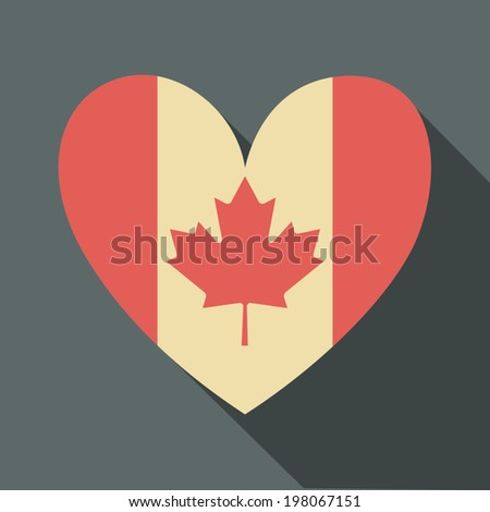 Flat design long shadow icon with the Canadian flag in the shape of a heart. - stock vector