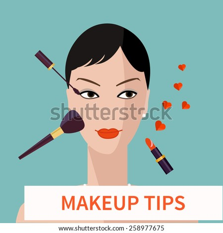 Flat design. Make up tips. Red lips makeup. Flat elements of cosmetics and woman face. Vector woman face with cosmetic.Flat illustration of cosmetic elements. Flat icon of cosmetics product.