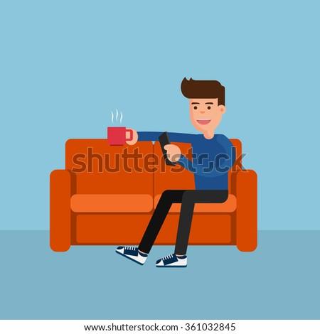 Flat design. Man on sofa relax online activity. Cartoon Vector Illustration. - stock vector