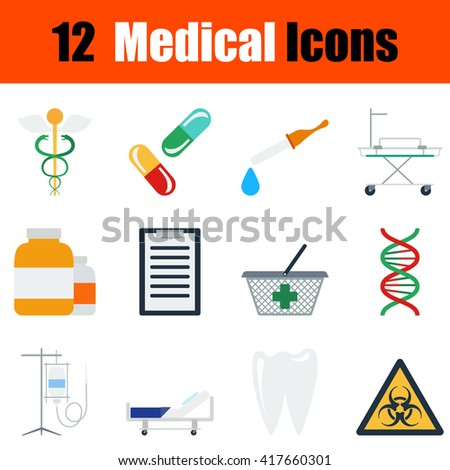 Flat design medical icon set in ui colors. Vector illustration. Medic set. Medical icons. Medic icons design. Medic theme icons. Medical icons. Health icons. Medical icon collection. Medic icon group. - stock vector