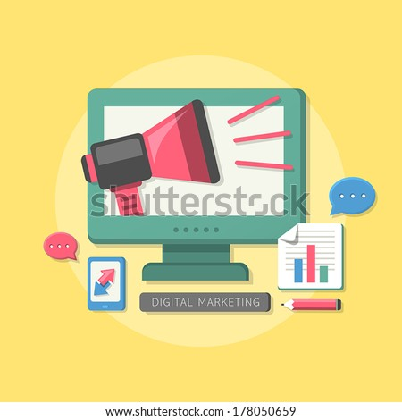 flat design megaphone with digital marketing concept - stock vector