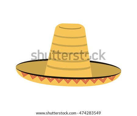 flat design mexican hat sombrero icon vector illustration