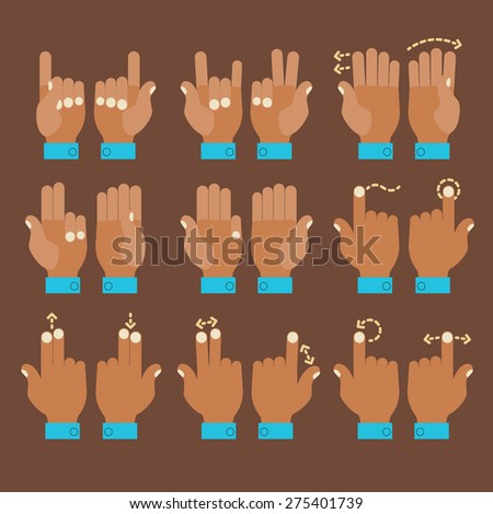 Flat design modern cartoon style multitouch gestures hands icons - stock vector