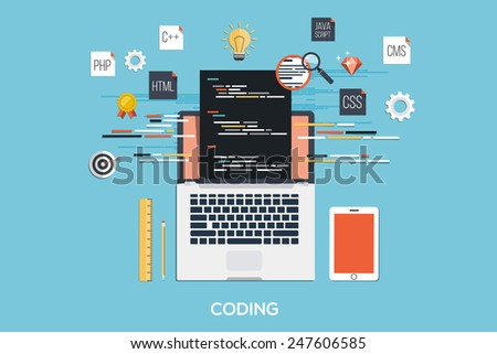 Flat design modern concept of process web page coding and programming on laptop with workflow objects and icons. Vector - stock vector