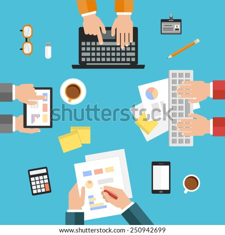 flat design modern concept of teamwork, consulting, briefing, planning, brainstorming or business strategy, creative process. vector illustration - stock vector