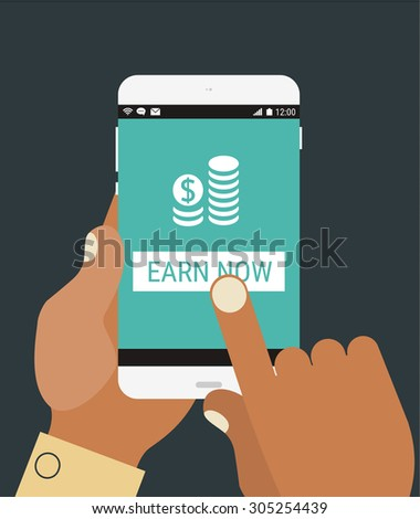 Flat design modern concept with hands holding mobile device with financial application - stock vector