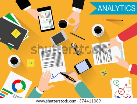 Flat design modern illustration concept of teamwork analyzing project on business meeting. Vector - stock vector