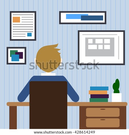 Flat design modern lifestyle concept of handsome man in casual T-shirt sitting at the desk and working on laptop in the office. Isolated on stylish background. Vector illustration - stock vector