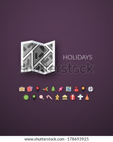 Flat design modern of brand identity style, web and mobile design, design element objects and collection vector illustration icons set 3 - holiday collection - stock vector