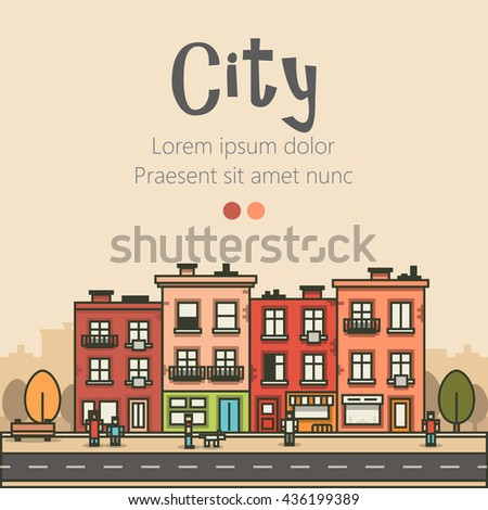 Flat design modern urban landscape and city life background. Building, people, trees and road. Vector illustration - stock vector