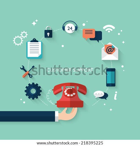 Flat design modern vector illustration concept for customer and technical support  - stock vector