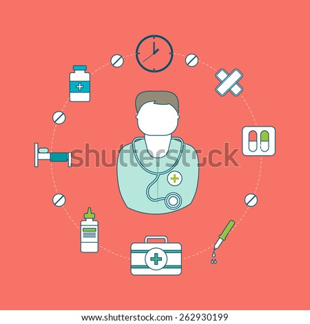 Flat design modern vector illustration concept for health care and medical help. Thin line icons  - stock vector