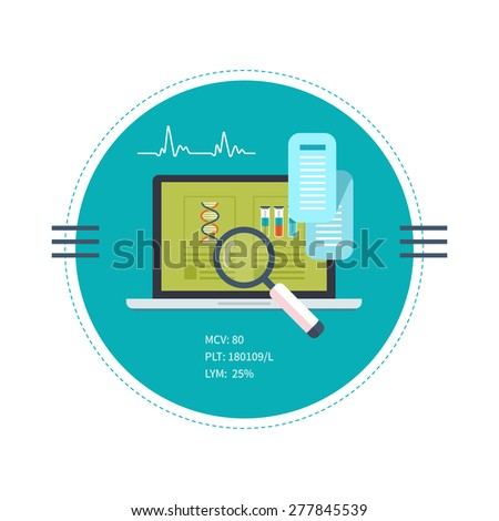 Flat design modern vector illustration concept for health care and on-line diagnosis. Health care system concept.  - stock vector