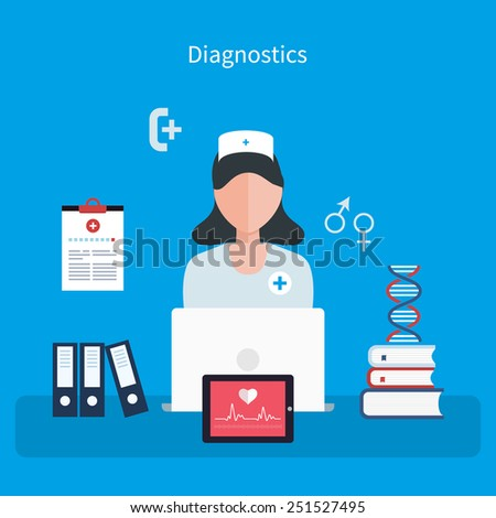 Flat design modern vector illustration concept for health care and online diagnosis. Healthcare system concept.  - stock vector