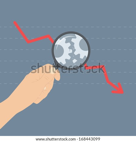 Flat design modern vector illustration concept of analyzing business crisis problem, broken gears with arrow down symbolizing a market crash or economic depression. Isolated on stylish background