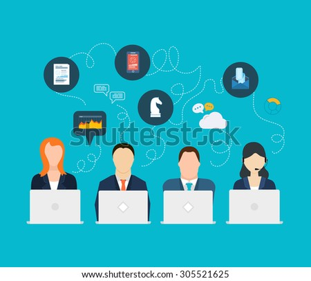 Flat design modern vector illustration concept of analyzing project, financial report and analytics, team work, market research and planning documents - stock vector