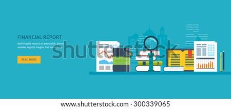 Flat design modern vector illustration concept of analyzing project on business meeting, financial report, financial analytics, market research and planning documents - stock vector
