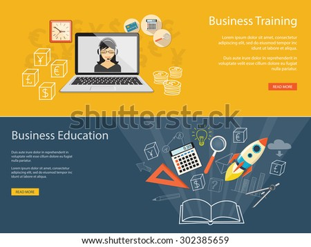 Flat design modern vector illustration concept of business education, e-book;  online, e-mail marketing, management, analytics with rocket - eps10 - stock vector