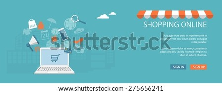 Flat design modern vector illustration concept of  business, marketing, e-mail marketing, online shop, store, marketplace,  with laptop and elements - eps10 - stock vector