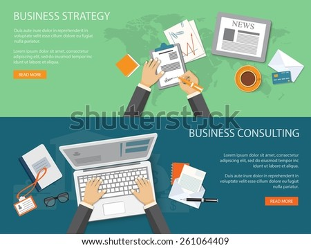 Flat design modern vector illustration concept of business strategy and consulting - eps10 - stock vector
