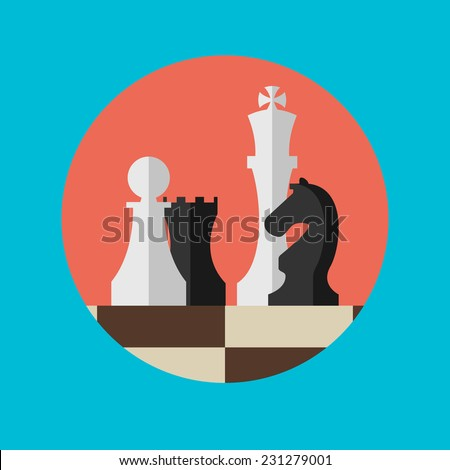 Flat design modern vector illustration concept of business strategy with chess figures on a chess board. - stock vector