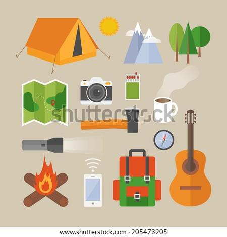Flat design modern vector illustration concept of camping. Objects, icons, infographics elements  - stock vector